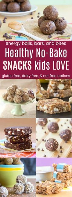 Healthy No-Bake Snacks Kids Love - recipes for energy balls and bites snack bars and granola bars to pack in a lunchbox or for after school snacks. Many have gluten free dairy free nut free and peanut free options. Dairy Free Recipes For Kids, Baking Recipes For Kids, Dairy Free Snacks, Snack Recipes, Easy Recipes, Gluten Free Recipes Healthy Snacks, Baking With Kids Easy, Vegetarian Kids Recipes, Soup Recipes