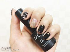 Ideas For Nails Art Black Korean Asian Nail Art, Asian Nails, Korean Nail Art, Korean Nails, Korean Makeup, Black Nail Designs, Nail Designs Spring, Nail Art Designs, White Lace Nails