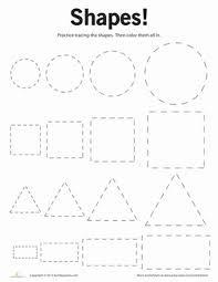 Preschool Shapes Worksheets: Tracing Basic Shapes--a pre writing activity Preschool Printables, Preschool Learning, Kindergarten Math, Preschool Activities, Preschool Shapes, Teaching, Shape Activities, Free Printables, Preschool Worksheets Free