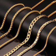 Vnox 24 인치 골드 도금 체인 목걸이 긴 스테인레스 스틸 금속 뱀/케이블/라운드 박스 체인