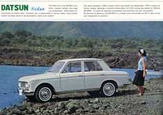 Datsun 1300 sales brochure Although Datsun began with building licensed British cars after the war, this 1300 clearly shows more Italian looks. Datsun Car, Nissan Infiniti, Samsung, Small Cars, Old Cars, Blue Bird, Cars And Motorcycles, Vintage Cars, Automobile