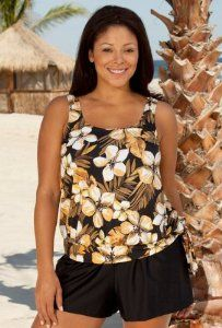508fea7b6c Beach Belle Jamaican Sunset Plus Size Blouson Tankini Top - Women s  Swimsuit Plus Size Swimsuits