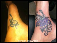 cover up foot name before and after ankle butterfly swirls girly tattoo