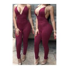 Wine Red Open Back Skinny Jumpsuit ($24) ❤ liked on Polyvore featuring jumpsuits, wine red, jumpsuits & rompers, v neck jumpsuit, print jumpsuit, red jumpsuit and open back jumpsuit
