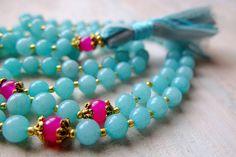 SALE   - Amazonite Mala Beads with Pink Jade  by BeginWithinJewelry via etsy #malabeads #prayerbeads #yoga