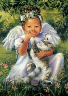 Angel with cat.