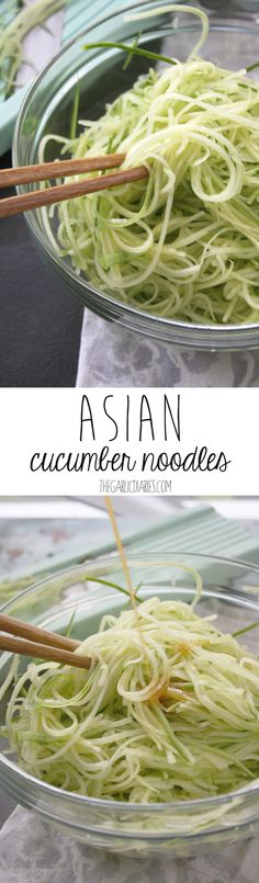 These Asian Cucumber noodles take 15 minutes to make and are the perfect, refreshing side. Gluten free, vegan.