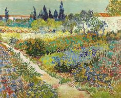 ❀ Blooming Brushwork ❀ garden and still life flower paintings - Vincent van Gogh, Garden with Path, Arles, July, 1888