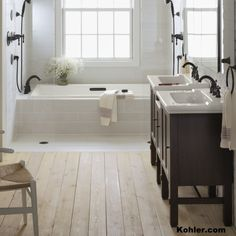 Drop-in tubs require water safe materials for the top surface and one or more exposed sides. Tile is a great option especially when it is made in the U.S. of recycled materials.