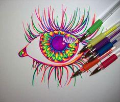 Wip, gel pens by nicostars on deviantart art in 2019 gel pen art, pen art. Psychedelic Drawings, Trippy Drawings, Art Drawings Sketches, Colorful Drawings, Easy Drawings, Sharpie Drawings, Sharpie Art, Hippie Drawing, Gel Pen Art