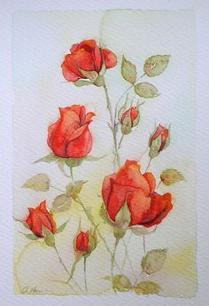 £80 ~ RED ROSE BUDS watercolour painting original by TheMinervaGallery
