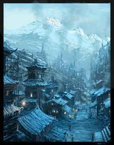 Steampunk Chinese Village by *Raphael-Lacoste