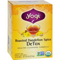 Yogi Tea - Organic - Roasted Dandelion Spice DeTox - 16 Tea Bags - 1 Case - Healthy Cleansing Formula* For centuries, Dandelion has been traditionally used by herbalists as a cleansing herb to support liver health. This delicious tea is an intriguing, all-organic blend that builds on this tradition, showcasing this celebrated herb. Purposefully formulated to support the body's natural cleansing processes, we combine the finest Organic Dandelion with Cocoa Shells and Yogi's traditional spice…