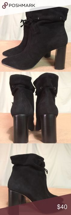 New TAHARI Black Suede/Leather Bootie Heels These shoes are Brand New/Never Worn and are in PERFECT CONDITION. The heel height of this shoe is 3.5 inches tall. Tahari Shoes Ankle Boots & Booties
