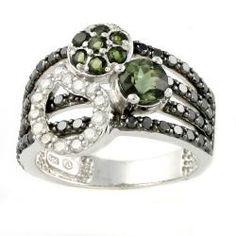 Silver Green Tourmaline and 1ct TDW Black/ White Diamond Ring (H-I, I2) black tourmaline jewelry