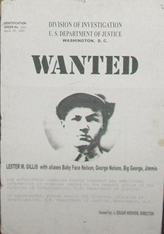 "Wanted poster George ""Baby Face"" Nelson"
