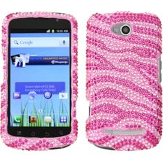 This is an Insten zebra pink/ hot pink diamante case for CoolPad 5860E Quattro 4G. Protect your cell phone against bumps and scratches with this case.