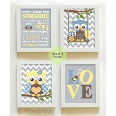 Modern Nursery Decor You Are My Sunshine Chevron Owl Art Love Baby Boy Room Set Of Four Prints