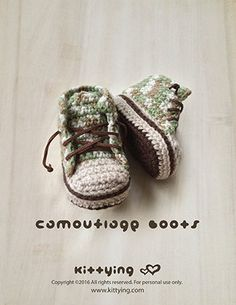 Crochet Pattern Baby Booties Camouflage Baby Boots by Crochet Pattern Kittying from Kittying.com / Mulu.us Crochet Pattern Baby Booties Camouflage Baby Boots Baby Sneakers Crochet Patterns Baby Shoes Crochet Booties Newborn Sneakers Newborn Boots