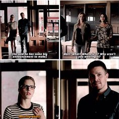 Arrow - Thea, Felicity, Oliver and Laurel he like girls first u mess up my plan and now u spoil it! The Cw Shows, Dc Tv Shows, Between Serie, Celebrities Read Mean Tweets, Arrow Oliver And Felicity, Arrow Memes, Arrow Season 4, Arrow Tv Series, Superhero Shows