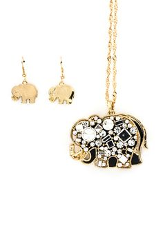 Crystal Elephant Pendant in Gold | Emma Stine Jewelry Necklaces