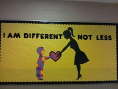 Here are 20 different bulletin board and classroom door ideas to help bring autism awareness and acceptance to your school. Elementary Bulletin Boards, Preschool Bulletin, Classroom Bulletin Boards, Autism Classroom, Special Education Classroom, Classroom Door, Classroom Ideas, Autism Awareness Month, Special Education