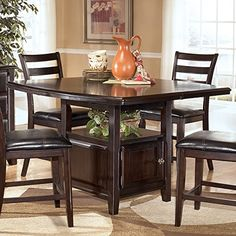 Signature Design By Ashley D520 32 Ridgley Collection Counter Height Dining Room Table Dark Brown