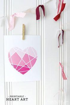 free ombre geometric heart printable