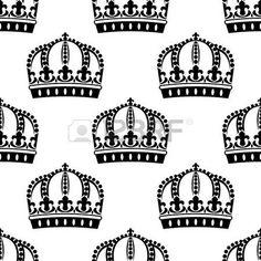 wallpaper crown: Coronas reales sin fisuras en el patrón de estilo victoriano…