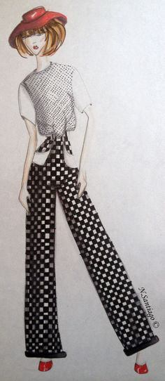 Black and White Polka Dots Cotton & Black and White Checkers Cotton/Linen  Medium: Markers