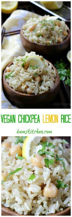Vegan Chickpea Lemon Rice. Healthy side dish recipe.  For more pins like this, follow us @juicemetoo!