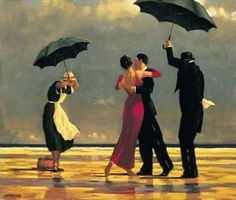 Jack Vettriano, born November 17, 1951 in Fife, Scotland.  He became an apprentice of a mining engineer after leaving school when he was only sixteen. He taught himself to paint in the 1970's when his girlfriend bought him a set of watercolour paints as a present on his twenty-first birthday. His earliest works were reproductions of several impressionist paintings, his first being Monet's Poppy Fields.  Movement: Contemporary