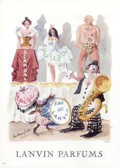 Lanvin parfums 1956 Guillaume Gillet, Scandal, My Sin, Rumeur, Arpège