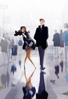 Pascal Campion Belly laughs and other things.… I can't hold it any more…. Art And Illustration, Interracial Art, Pixiv Fantasia, Pascal Campion, Illustrator, My Little Paris, Belly Laughs, Couple Art, Anime Comics