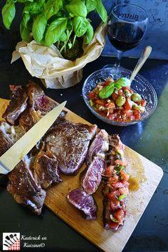 Recette plancha d'entrecôte de bœuf et salsa de tomates