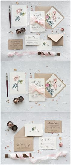 Pink Roses Calligraphy Wedding Invitations 05CGNz #weddings #weddingideas #invitations #vintage #vintageweddings ❤️ http://www.deerpearlflowers.com/botanical-wedding-inviations-from-4lovepolkadots/
