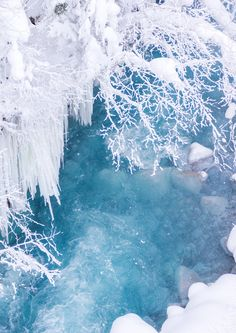 Biei river, Hokkaido, Japan: the water is beautiful blue, because of the hot springs upstream.