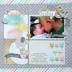 Great saying Sweet baby layout made with Simple Stories Hello Baby collection.