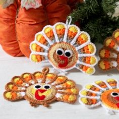 Crochet pattern to make Thanksgiving Turkey Coasters and hanging ornaments.