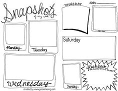 Snapshots of my week journal idea (free printable). Site also has other journal ideas and a few more freebies. Journal Prompts, Book Journal, Journal Cards, Writing Prompts, Journals, Notebooks, Smash Book, Filofax, Project Life