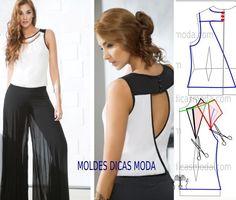 Passo a passo transformação do molde de blusa. Para fazer este modelo de blusa imprima o molde base de blusa e faça a gradação para o seu tamanho.: