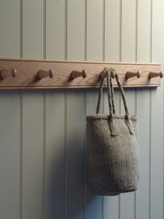 These Oak Peg Rails are perfect for coat hooks in the hallway or laundry sacks on the landing. However you decide to use them these rails will add a warm, natural, country house feel to your home. Estilo Shaker, Tongue And Groove Walls, Coat Pegs, Hat Storage, Storage Ideas, Storage Solutions, Long Hallway, Hallway Storage, Wooden Pegs