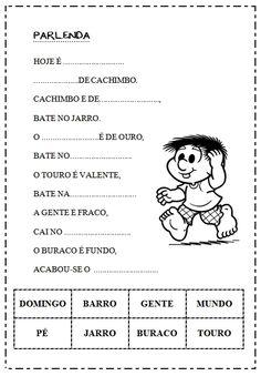 Rosearts- Atividades para imprimir: Atividades com parlendas e poesias: Textos fatiados, interpretação textual