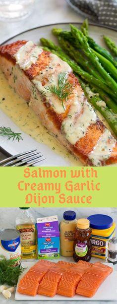 Pan Seared Salmon with Creamy Garlic Dijon Sauce - Seafood Recipes Lemon Recipes, Fish Recipes, Seafood Recipes, Dinner Recipes, Cooking Recipes, Healthy Recipes, Sauce Recipes, Dinner Ideas, Eat Healthy