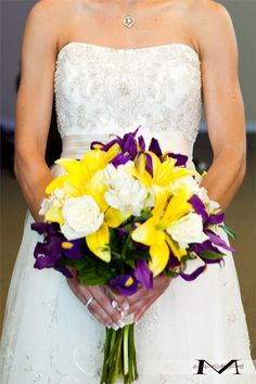 Image result for purple and yellow wedding flowers