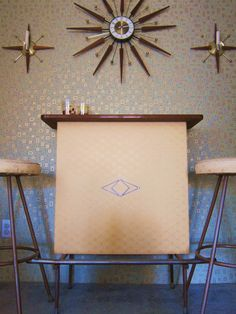 Vintage Mid Century Formica Bar and Stool Set on Etsy, $300.00