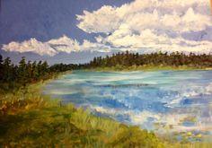 "Waskesui Lake, 2013, 14"" x 16"", Acrylic on Canvas.  $475."
