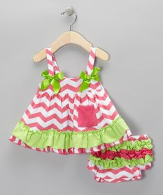Take a look at this Hot Pink & Lime Zigzag Swing Tunic & Diaper Cover - Infant by Diva Daze on #zulily today!
