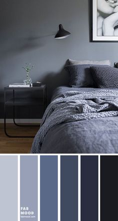 Bedroom color scheme ideas will help you to add harmonious shades to your home which give variety and feelings of calm. From beautiful wall colors& Source by The post Dark Blue Grey Bedroom Color appeared first on Rosa Home Decor. Grey Colour Scheme Bedroom, Blue Bedroom Colors, Dark Gray Bedroom, Dark Blue Bedrooms, Gray Bedroom Walls, Calming Bedroom Colors, Bedroom Decor Dark, Blue Grey Walls, Bedroom Wall Colour Ideas