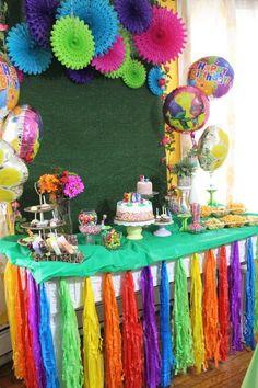 Naliya's Birthday: Dreamworks Trolls Party - Tablescape - Alicia Ever After - Trolls Party, Trolls Birthday Party, Kids Birthday Themes, Bunny Birthday, Rainbow Birthday, 4th Birthday Parties, 7th Birthday, Birthday Decorations, Table Decorations